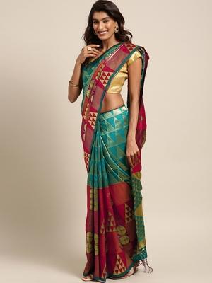 Teal woven art silk saree with blouse