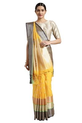 Mustard woven katan silk saree with blouse