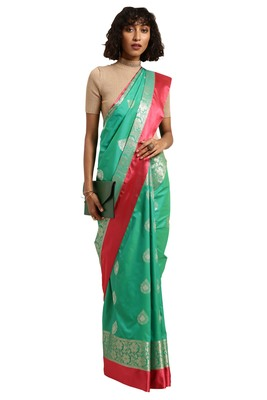 Dark turquoise woven katan silk saree with blouse