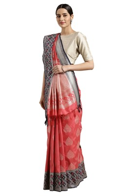 Dark pink woven katan silk saree with blouse