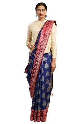 Dark blue woven katan silk saree with blouse