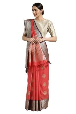 Pink woven katan silk saree with blouse