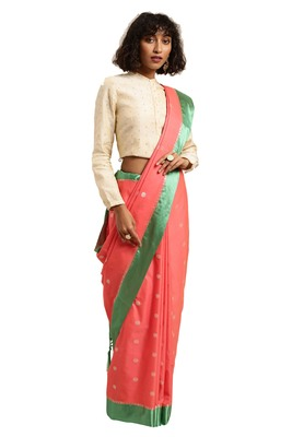 Dark peach woven katan silk saree with blouse