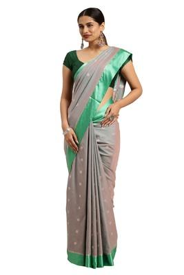 Dark grey woven katan silk saree with blouse
