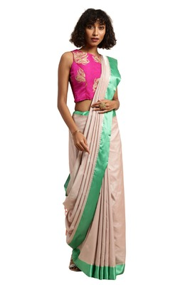 Light cream woven katan silk saree with blouse
