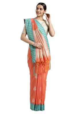Light orange woven katan silk saree with blouse