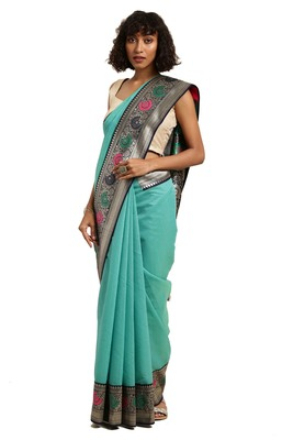 Dark turquoise woven cotton silk saree with blouse