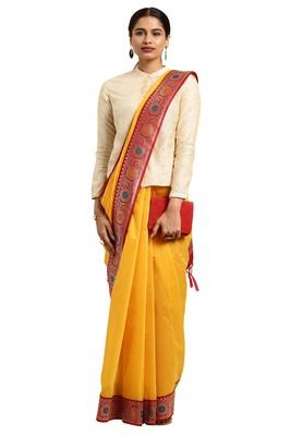 Dark mustard woven cotton silk saree with blouse