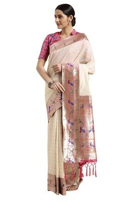 Light cream woven cotton silk saree with blouse