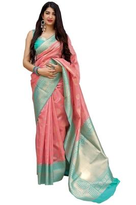 Light peach woven art silk sarees saree with blouse