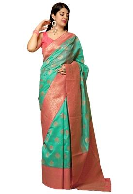 Sea green woven art silk sarees saree with blouse