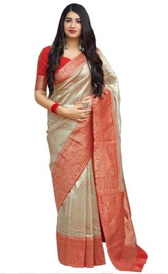 Beige woven art silk sarees saree with blouse