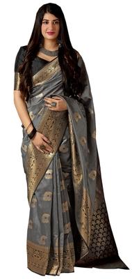 Grey woven art silk sarees saree with blouse
