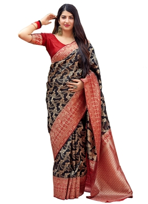 Black woven art silk sarees saree with blouse