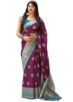 Wine woven art silk sarees saree with blouse