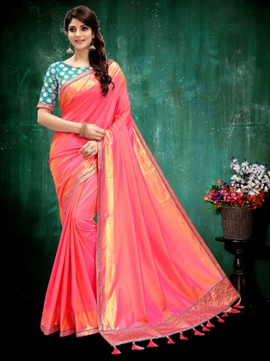 Coral printed silk saree with blouse