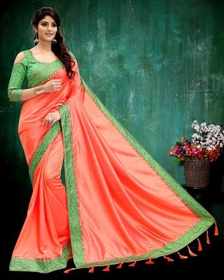 Salmon plain silk saree with blouse