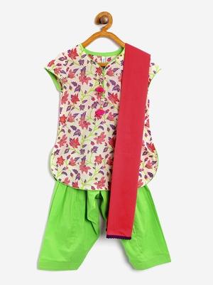Multicolor cotton salwar suit with dupatta for girls