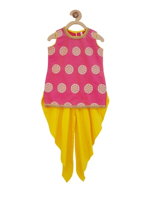 Pink cotton kurti with dhoti pants for girls