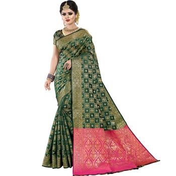 Dark green woven banarasi silk saree with blouse