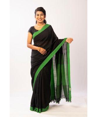 Green Bengal Cotton Handloom saree with blouse