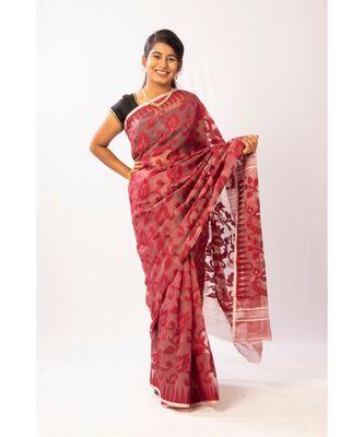 Maroon Bengal Cotton Handloom Jamdani saree with blouse