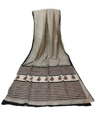 Off White Cotton Jaipuri Printed saree with blouse