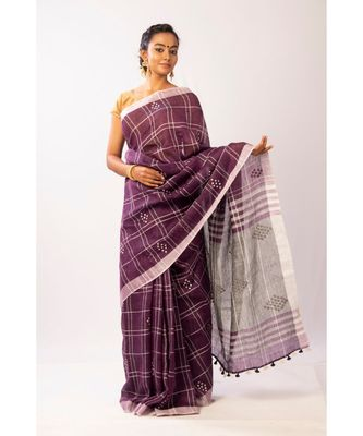 Purple Bengal Linen Handloom with sequence saree with blouse