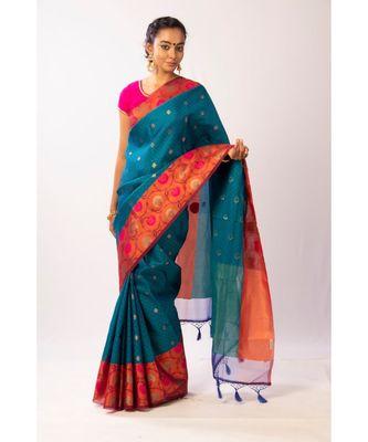 Blue Banarasi Cot Silk saree with blouse with zari saree with blouse