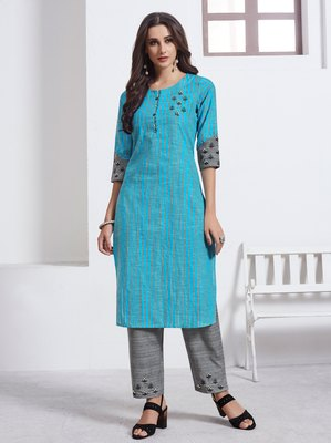 Turquoise Embroidered Cotton Ethnic Kurtis
