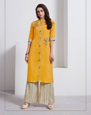 Mustard Embroidered Linen Ethnic Kurtis