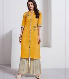 Mustard embroidered linen ethnic-kurtis