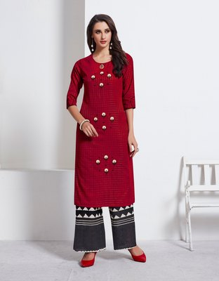 Maroon embroidered cotton ethnic-kurtis