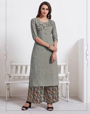 Grey embroidered cotton ethnic-kurtis