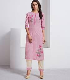 Light-pink embroidered cotton ethnic-kurtis