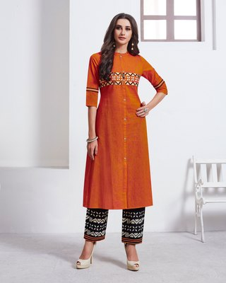 Orange Embroidered Cotton Ethnic-Kurtis