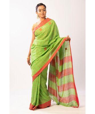 Green Bengal Cotton Jamdaani saree with blouse