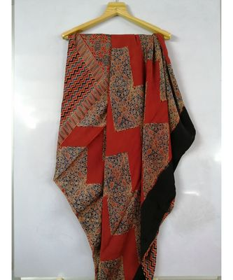 Red Modal Ajrakh Printed saree with blouse