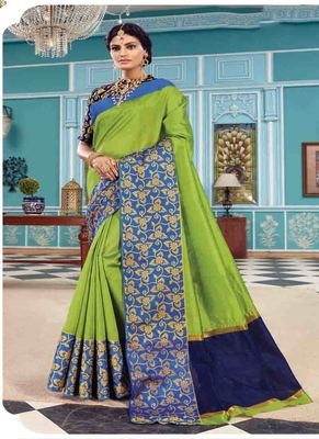 Parrot green woven art silk saree with blouse