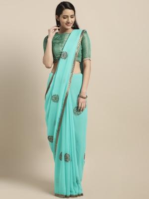 Aqua blue embroidered chiffon saree with blouse
