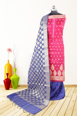 Women's pink woven banarasi unstitched salwar with dupatta