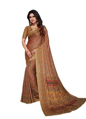 Brown printed pashmina saree with blouse