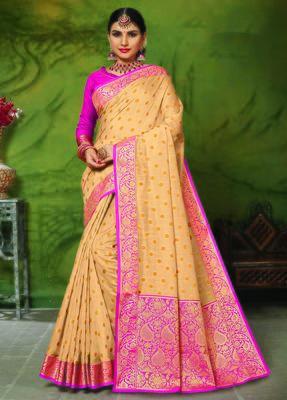 Cream woven art silk saree with blouse