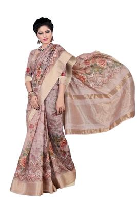 Dark pink printed jacquard saree with blouse