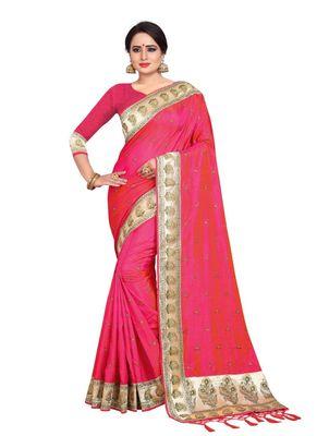Dark pink embroidered art silk saree with blouse