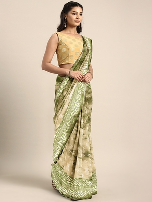 Green woven kanchipuram silk saree with blouse