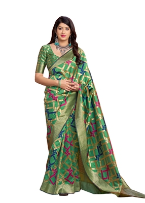 Green woven art silk saree with blouse