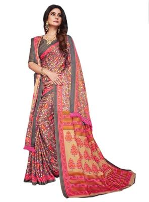 Grey printed pashmina saree with blouse