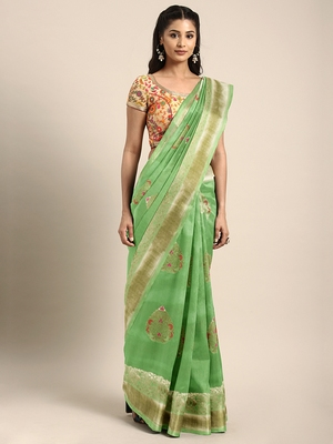 Light green woven art silk saree with blouse
