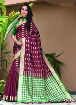 Maroon woven art silk saree with blouse
